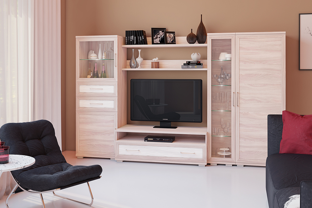 Композиция на фото (ВхШхГ): 1675 х 2750 х 549 мм«ясень шимо светлый» + «3d-волна глянец белый» — Модульная программа для гостиной «Парма-Люкс», мебельная фабрика «Кураж»
