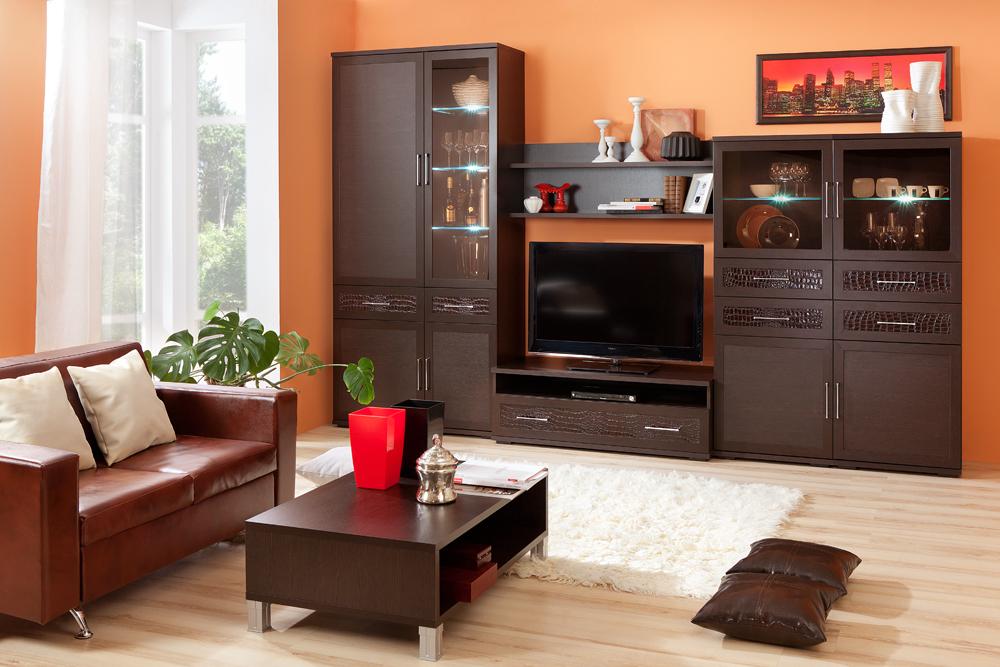 Композиция на фото (ВхШхГ): 2220 х 3450 х 549 мм«венге» + «кожа caiman темный» — Модульная программа для гостиной «Парма-Люкс», мебельная фабрика «Кураж»