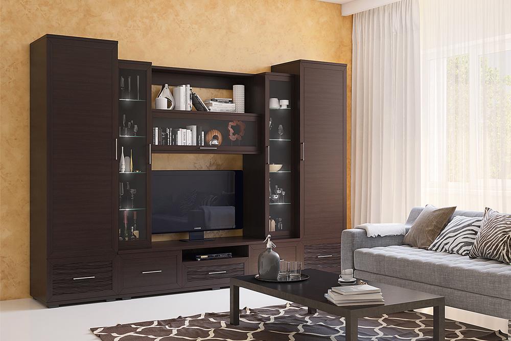 Композиция на фото (ВхШхГ): 2220 х 3100 х 549 мм«венге» + «3d-волна венге» — Модульная программа для гостиной «Парма-Люкс», мебельная фабрика «Кураж»
